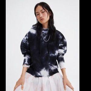 Zara Black & White Tie Dye Hooded Sweatshirt